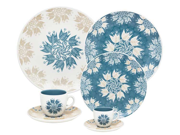 Столовый сервиз Oxford синие цветы 42 предмета