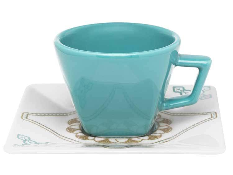 Чайный набор Oxford голубой квадрат 12 предметов (6 чашек + 6 блюдец) 200 мл