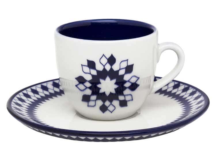 Чайный набор Oxford синие ромбы 12 предметов (6 чашек + 6 блюдец) 200 мл