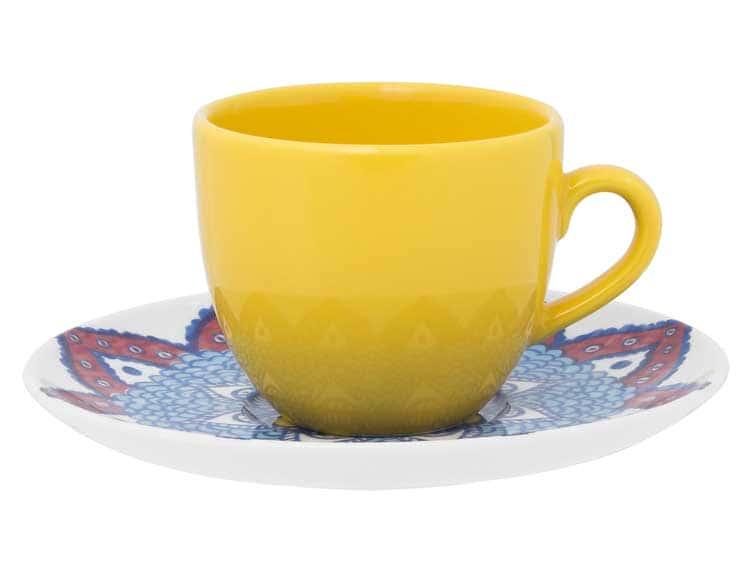 Чайный набор Oxford желтый 12 предметов (6 чашек + 6 блюдец) 200 мл
