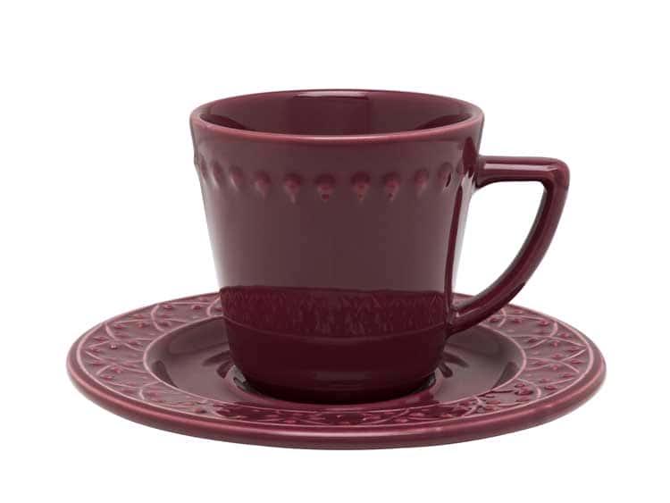 Чайный набор Oxford бордо 12 предметов (6 чашек + 6 блюдец) 200 мл