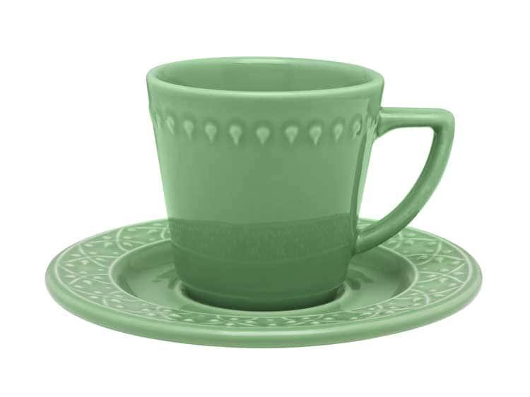 Чайный набор Oxford зеленый 12 предметов (6 чашек + 6 блюдец) 200 мл