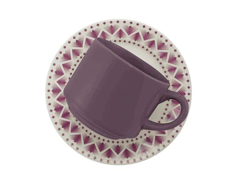 Чайная чашка с блюдцем Oxford сиреневый узор 200 мл