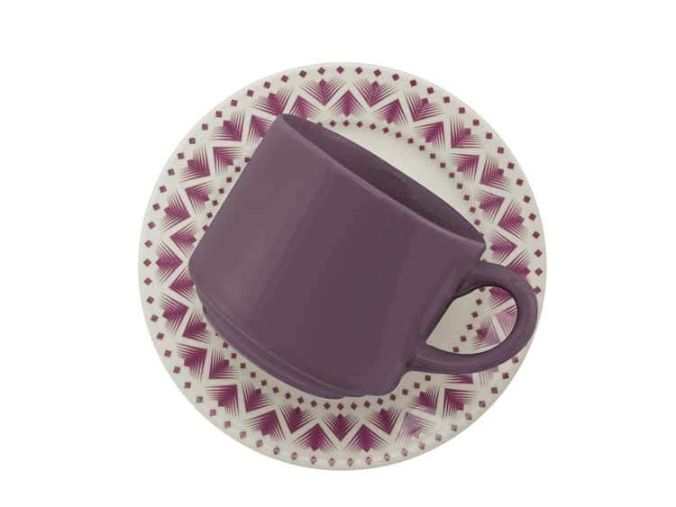 Чайный набор Oxford сиреневый узор 12 предметов (6 чашек + 6 блюдец) 200 мл