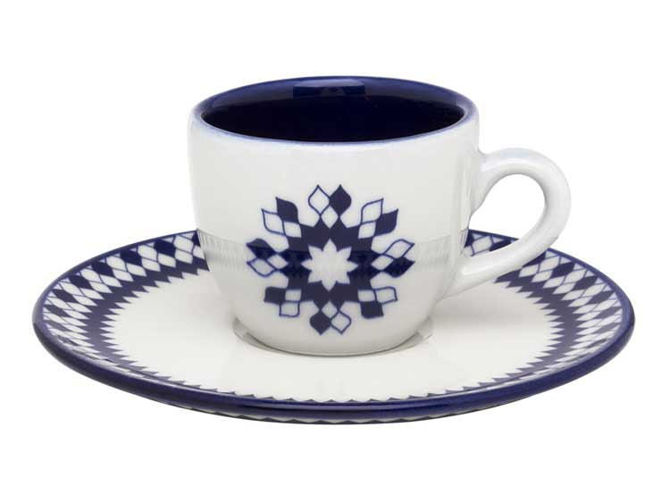 Кофейная пара Oxford синие ромбы(чашка + блюдце) 75 мл