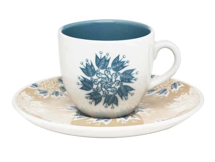 Кофейная пара Oxford голубые цветы (чашка + блюдце) 75 мл