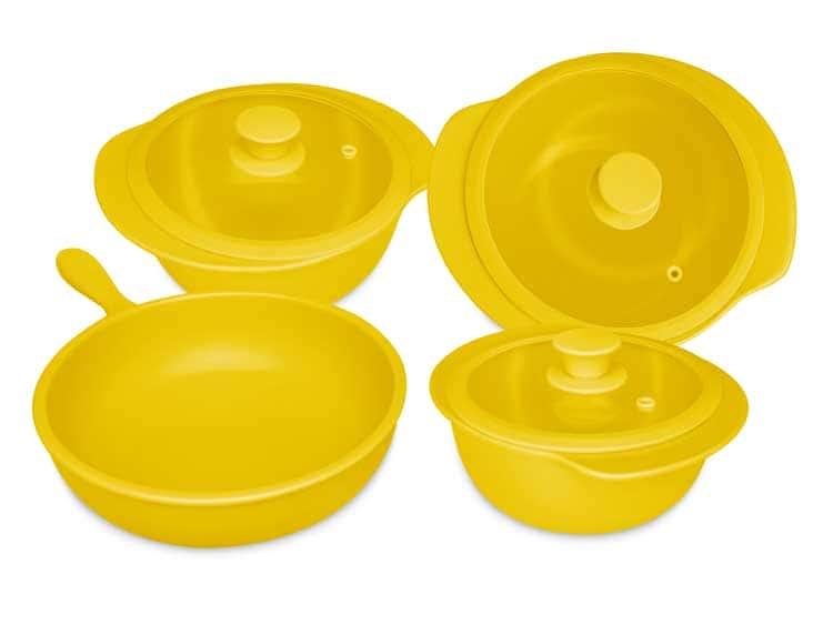 Набор кастрюль Oxford желтый 4 предмета (3 кастрюли, 1 сотейник)