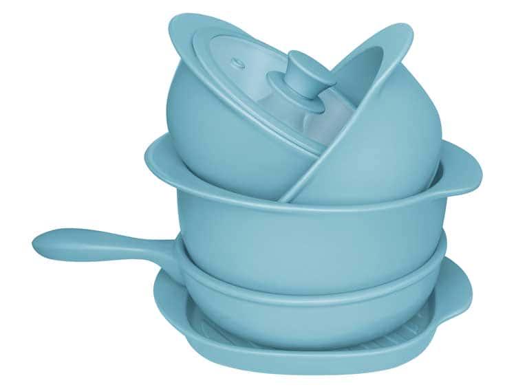 Набор Oxford голубой 5 предметов (3 кастрюли, 1 сотейник, 1 сковорода гриль)