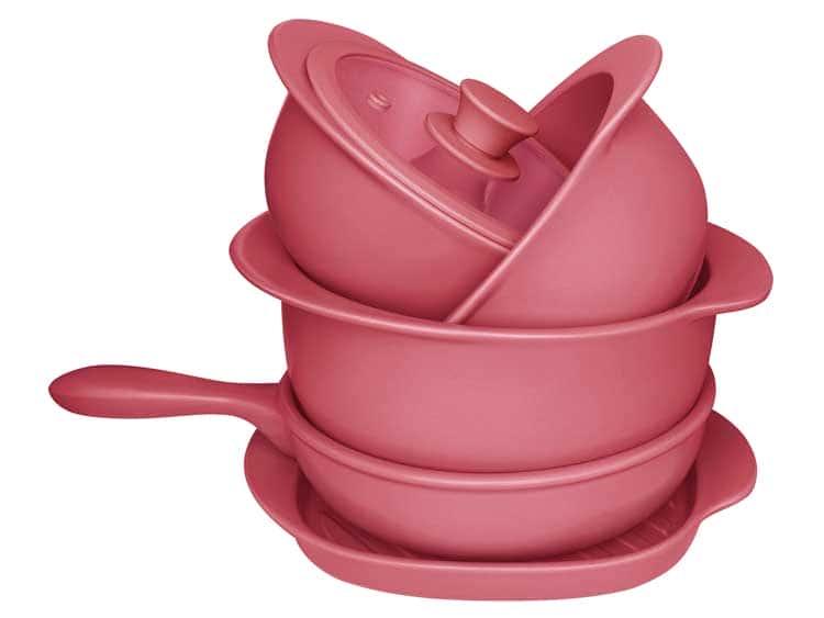Набор Oxford красный 5 предметов (3 кастрюли, 1 сотейник, 1 сковорода гриль)