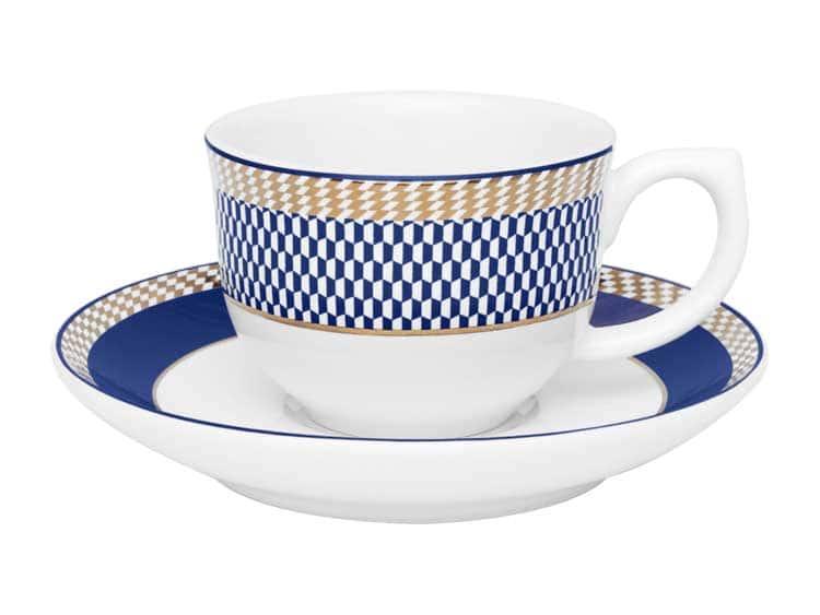 Чайная пара (чашка + блюдце) Oxford синий узор 100 мл
