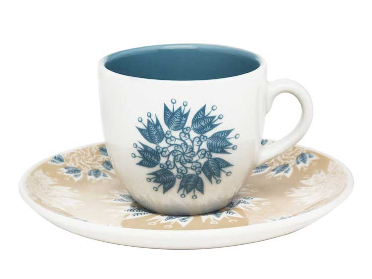 Чайная пара (чашка + блюдце) Oxford голубые цветы 180 мл
