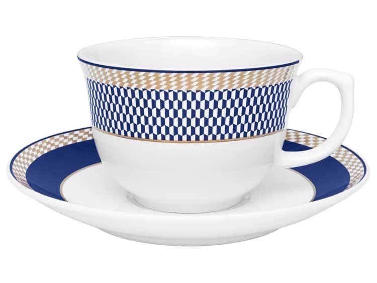Чайная пара (чашка + блюдце) Oxford синий узор 220 мл