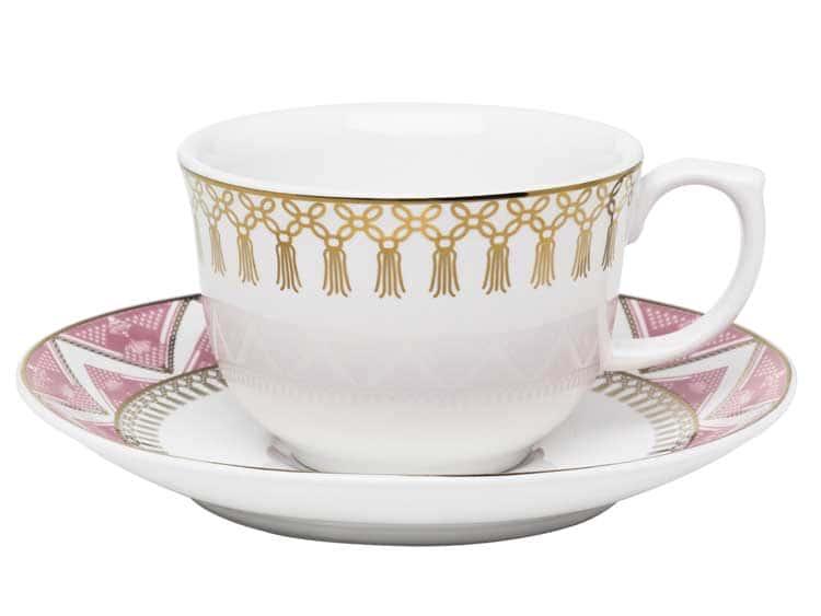 Чайная пара (чашка + блюдце) Oxford розовый узор 220 мл