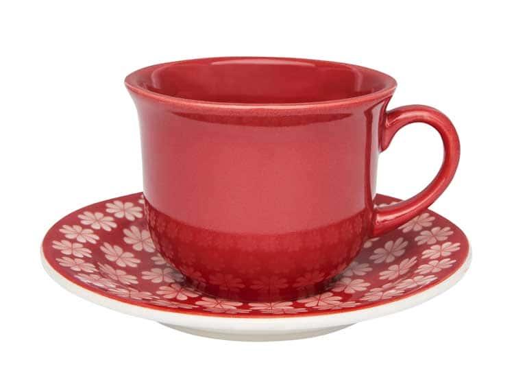 Чайный набор Oxford красный 12 предметов (6 чашек + 6 блюдец) 200 мл
