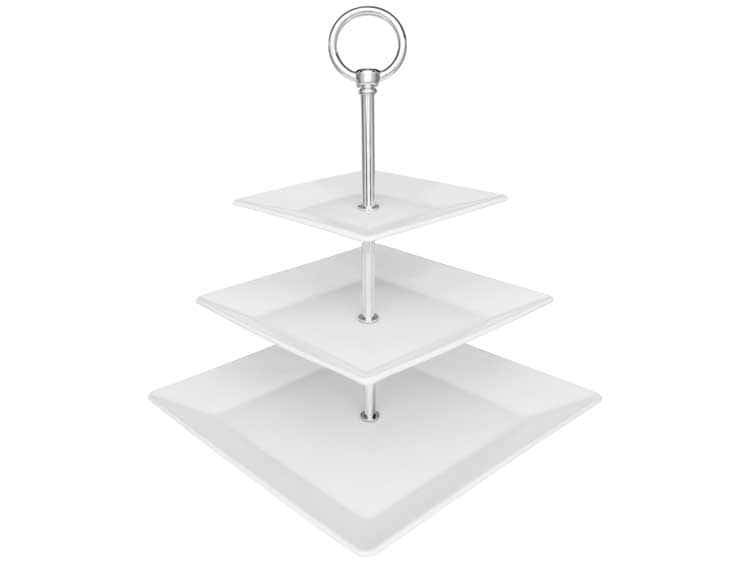 Этажерка Oxford белый квадрат трехъярусная для фруктов