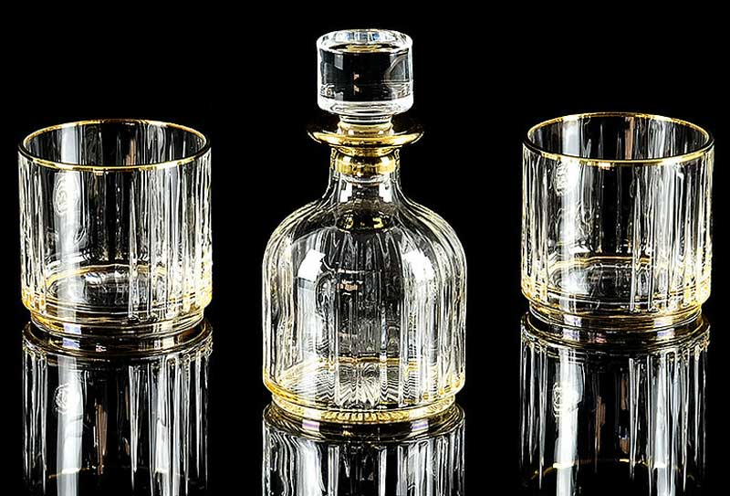BINGO Комплект для виски: графин + 2 стакана, хрусталь янтарный/декор золото 24К, Тубус