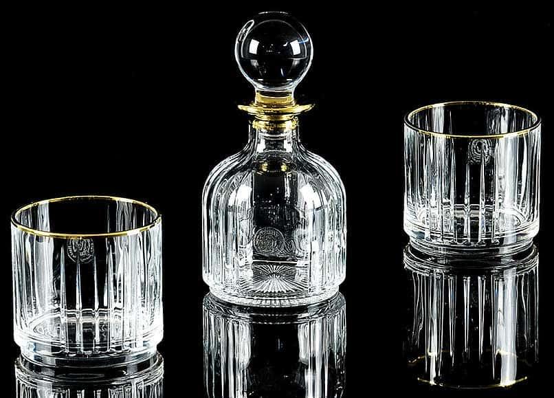 BINGO Комплект для виски: графин + 2 стакана, хрусталь/декор золото 24К, Тубус