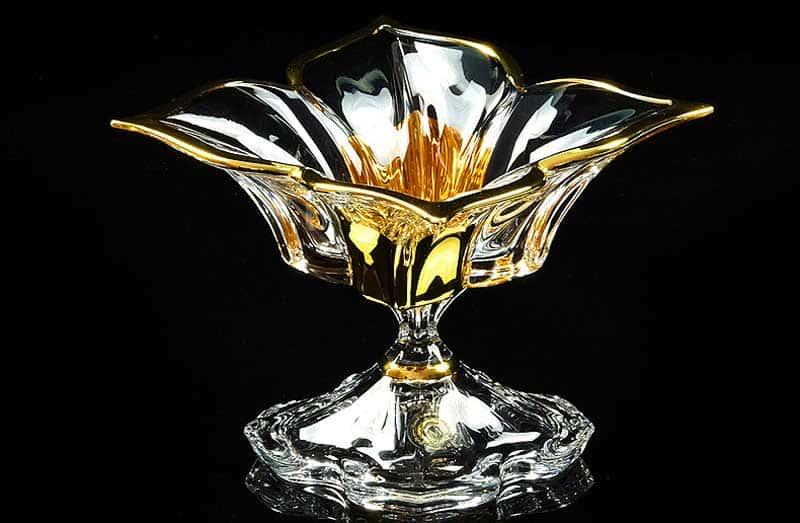 DECOR Ваза D20,5 см, хрусталь/декор золото 24К