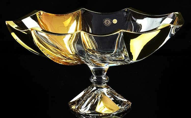 DECOR Ваза для фруктов D35 см, хрусталь/декор золото 24К