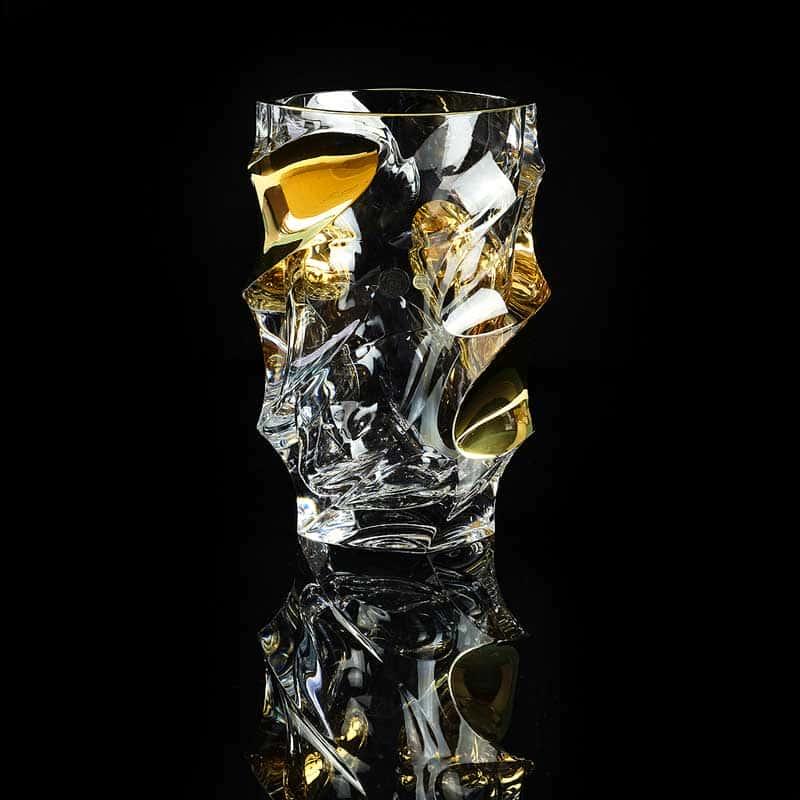 DECOR Ваза H28 см, хрусталь/декор золото 24К