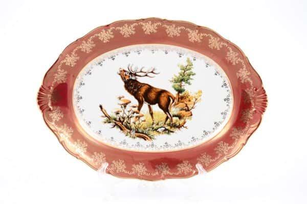 Фредерика Охота Красная Блюдо овальное 39 см Moravec