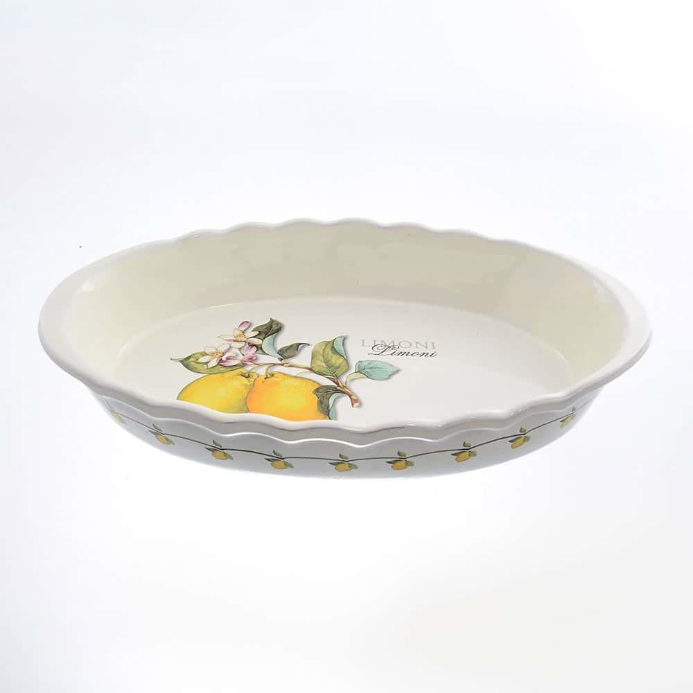 Блюдо овальное для запекания 39см Лимоны Caroline Artigianato