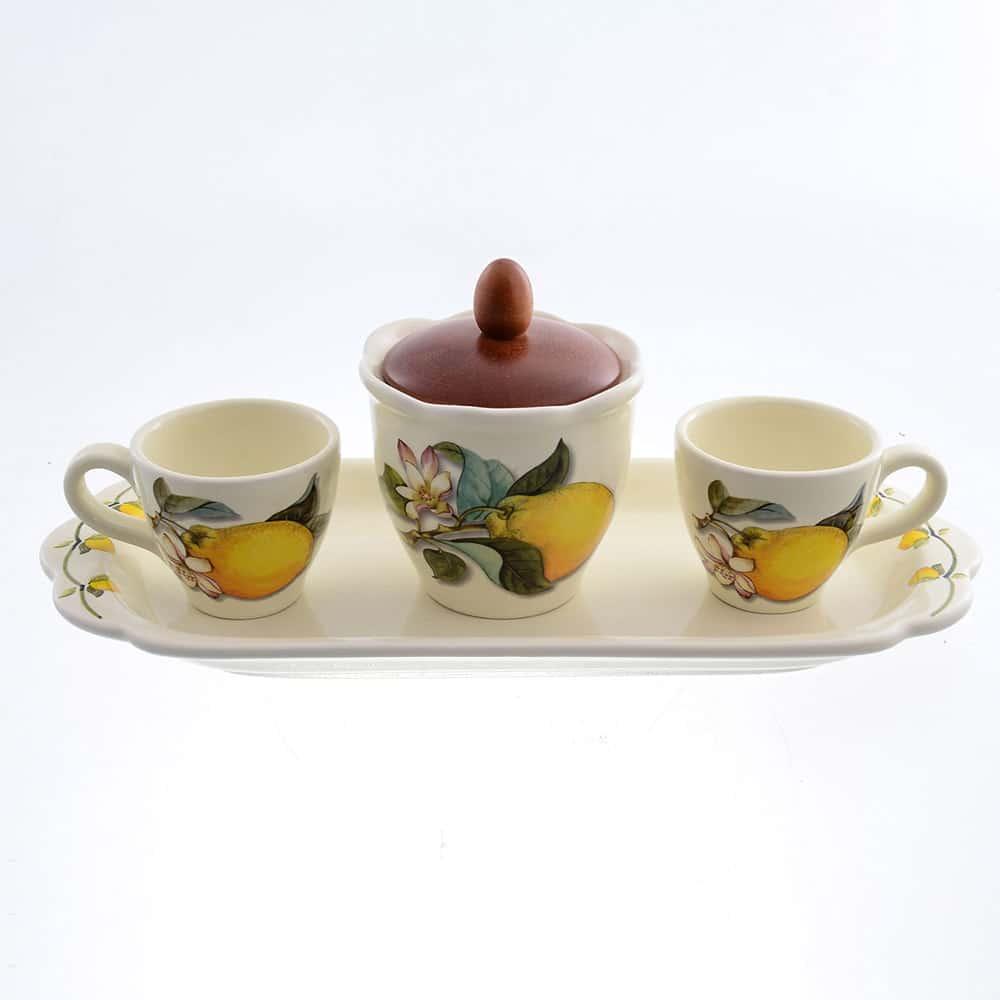 Кофейный сервиз Лимоны Caroline Artigianato Ceramico 5 предметов