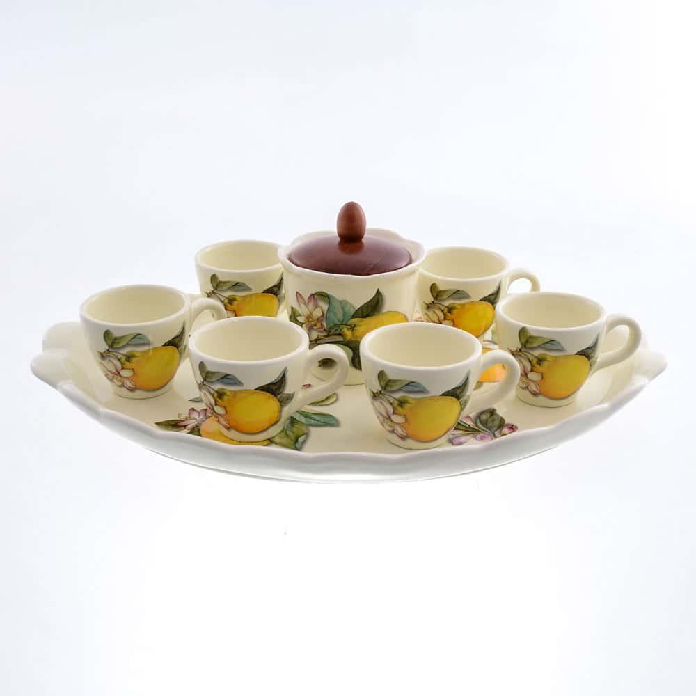 Кофейный сервиз Лимоны Caroline Artigianato Ceramico 9 предметов