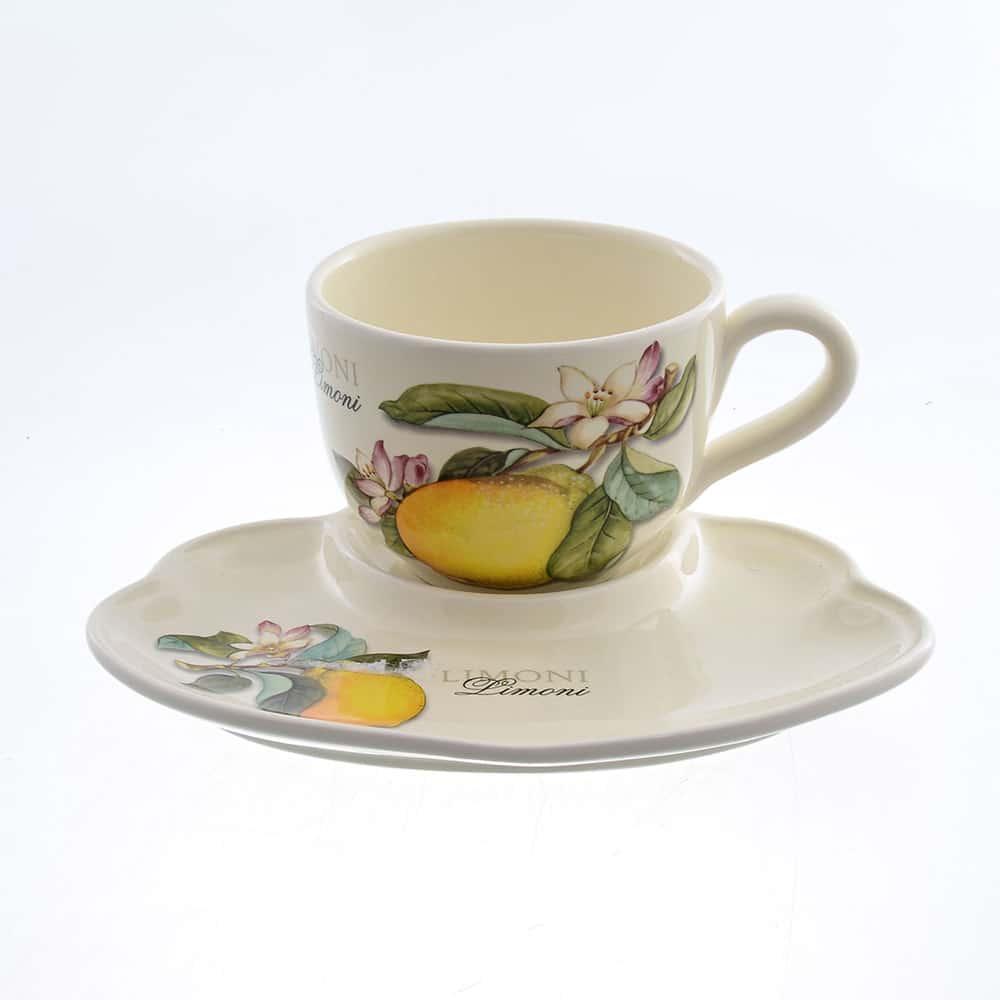 Набор чашка с блюдцем Лимоны Caroline Artigianato 2 предмета
