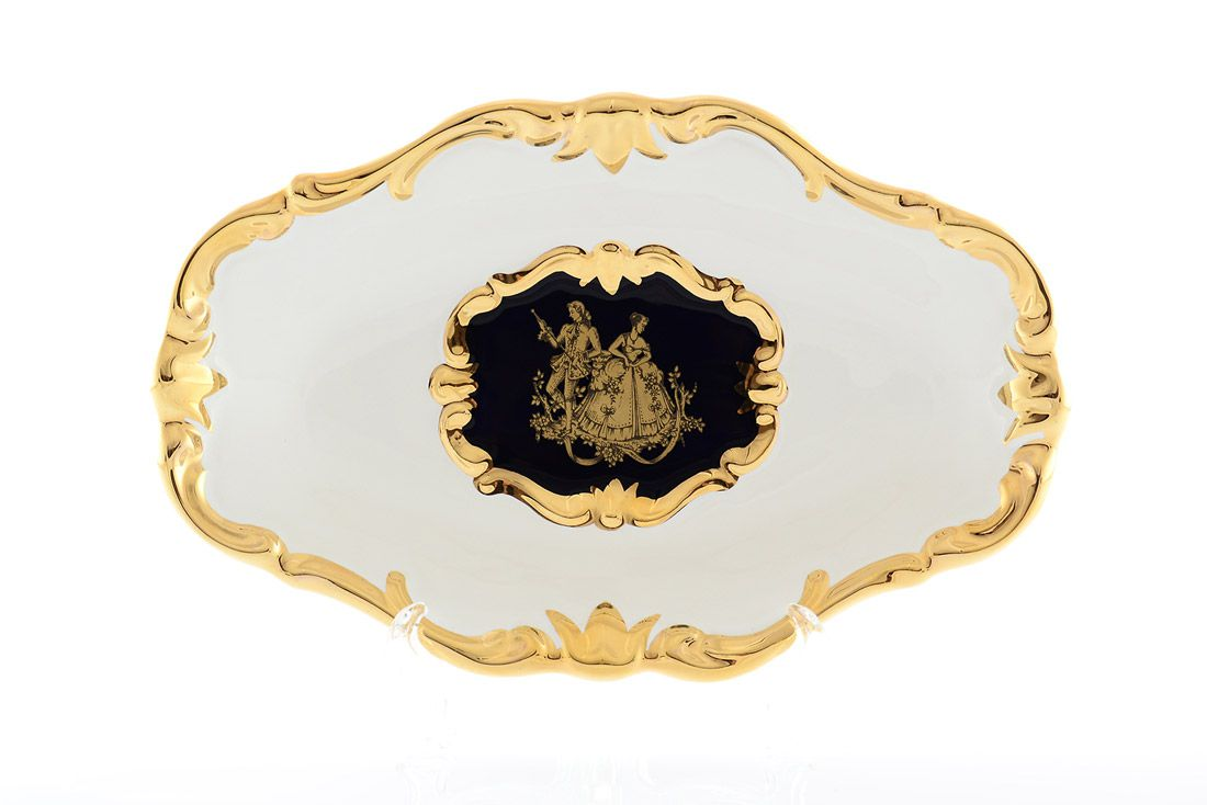 Блюдо овальное 25x16cm White gold Limoges Bruno Costenaro
