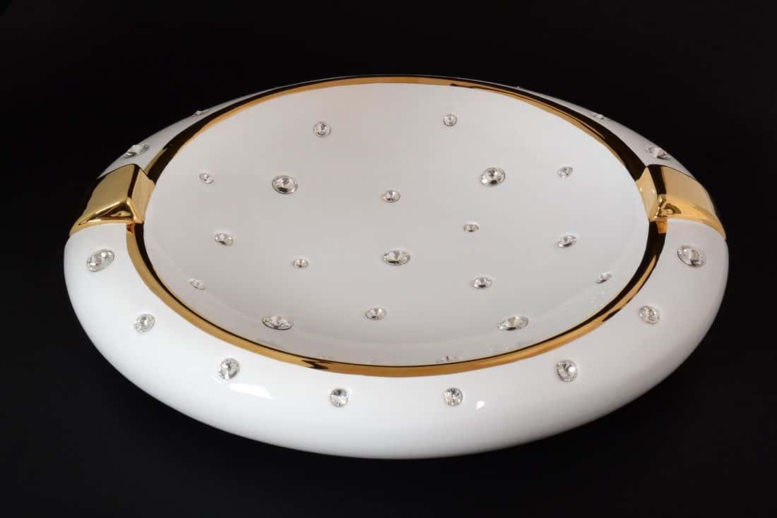 Ваза для цветов 24*29 см h-18 см Лас Вегас White gold Limoges Bruno Costenaro с золотом с кристаллами