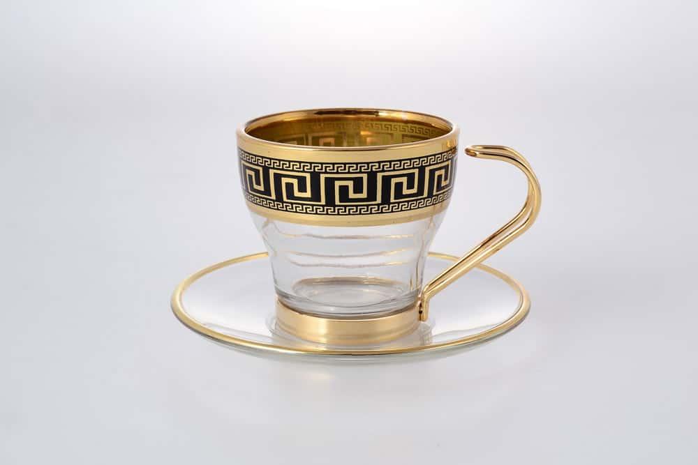 Набор чайных пар Art Decor Versace Gold Black 12 предметов