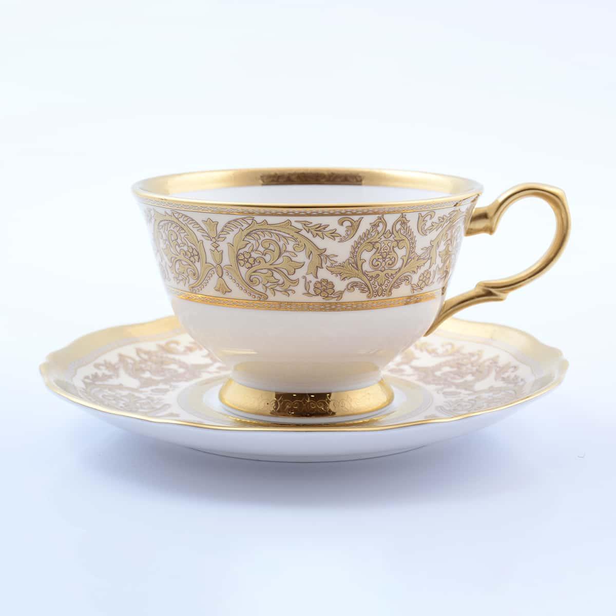 Набор чайных пар 220мл Golden Romance Cream Gold Prouna (6 пар)