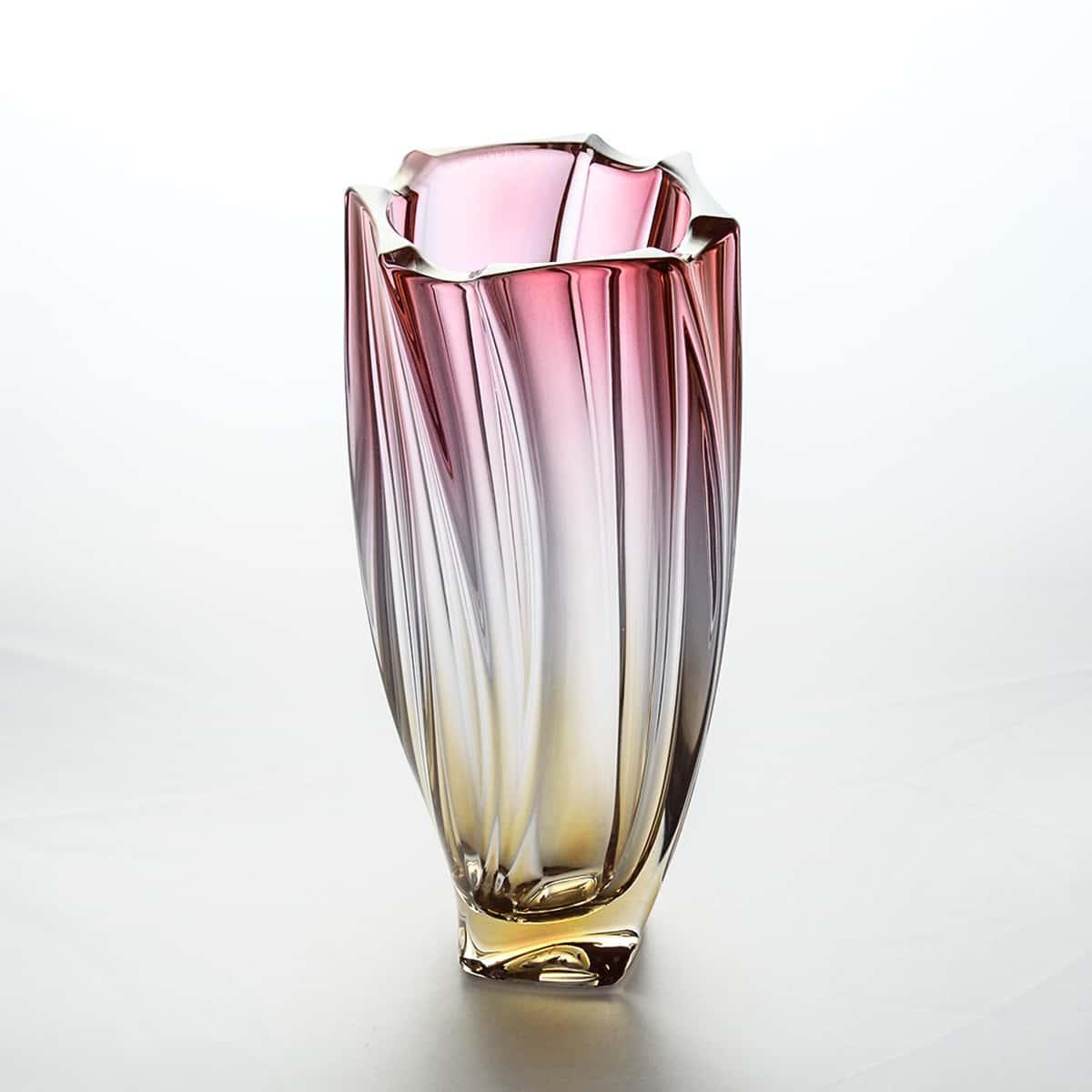 Ваза для цветов 25,5 см Neptune Bohemia Gold красная