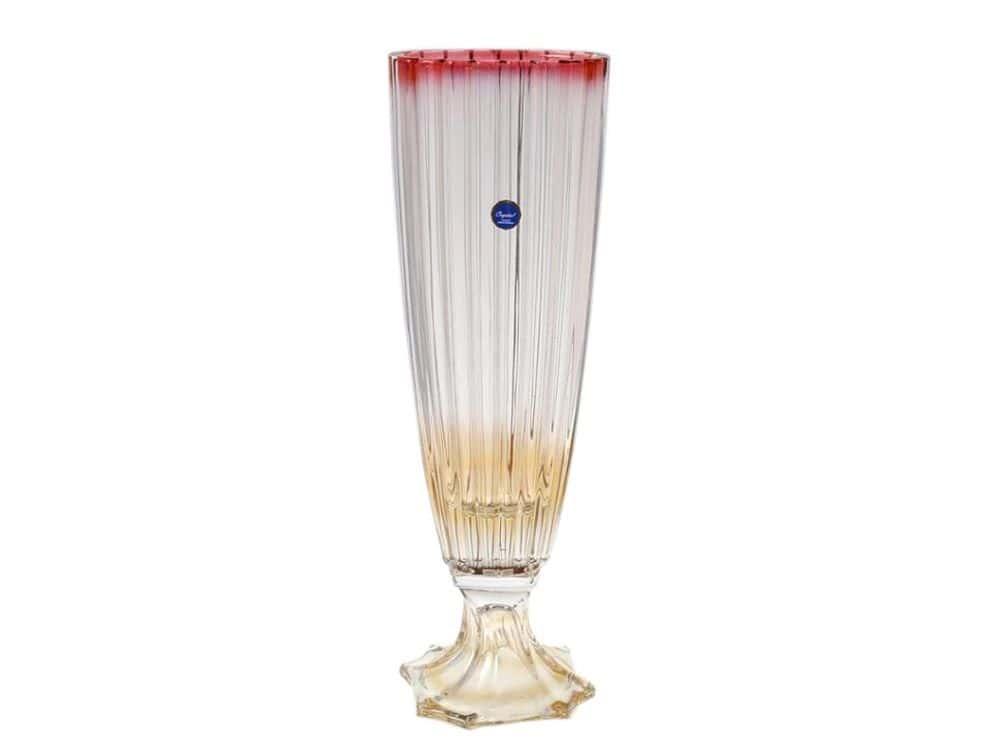 Ваза для цветов на ножке 35 см красная OVAL RG Bohemia Gold