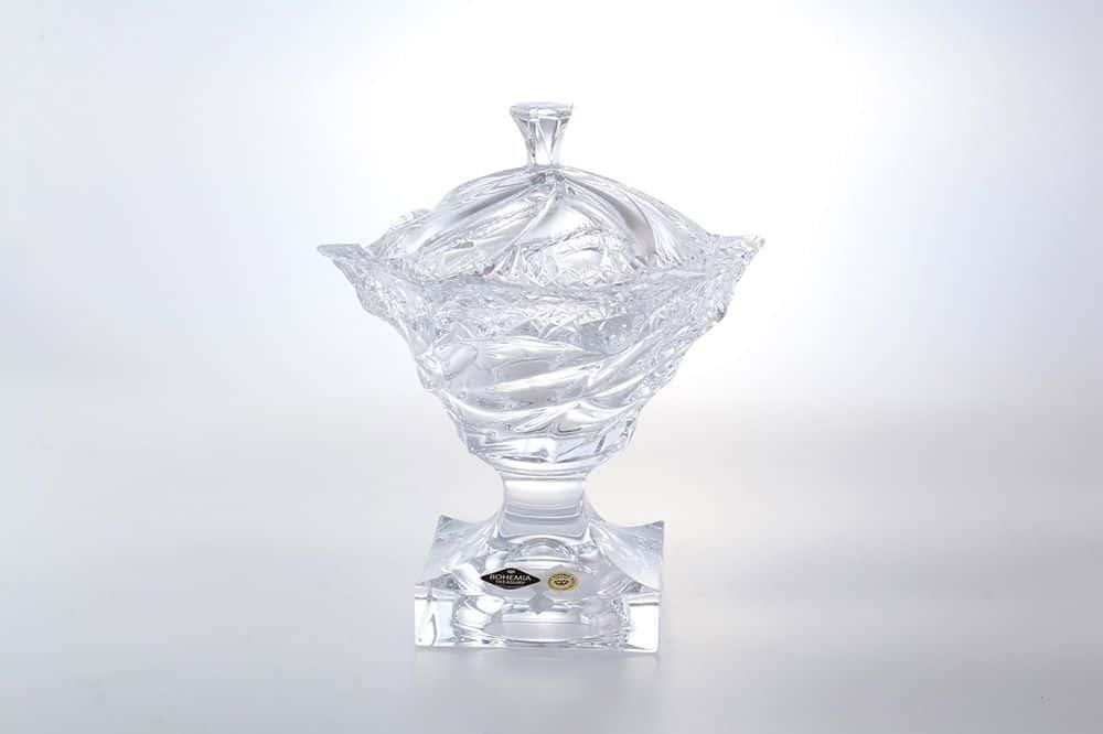 Конфетница с крышкой 25 см FLAMENCO ICECUT BOHEMIA TREASURY