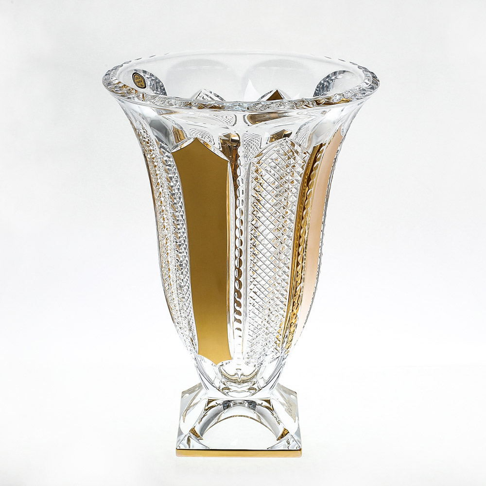 Ваза для цветов 36 см Gold Crystal золото на ножке