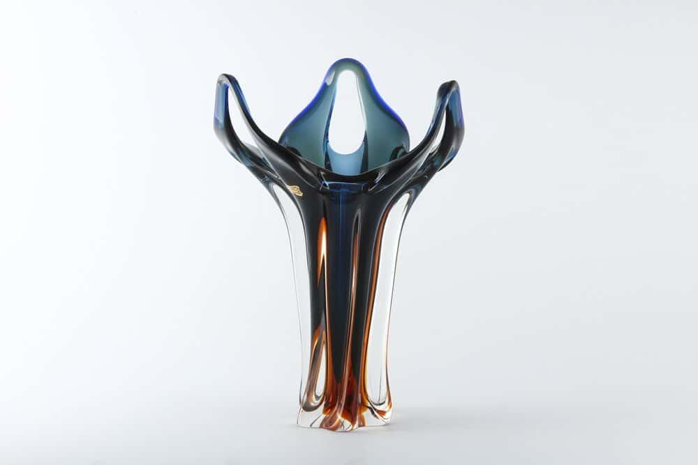 Ваза для цветов 38 см Egermann синяя/медовая
