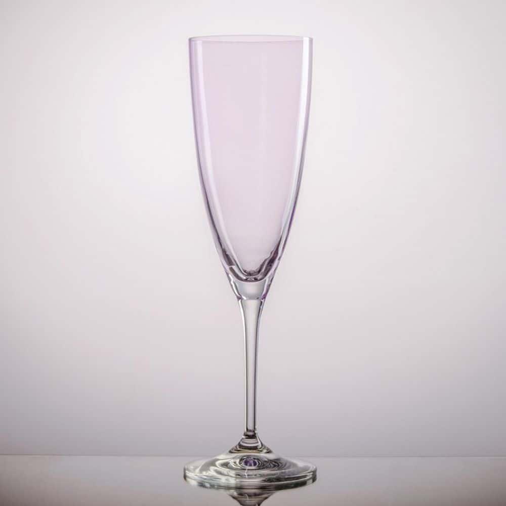 Набор фужеров для шампанского Kate Crystalex розовые 220мл(6 шт)