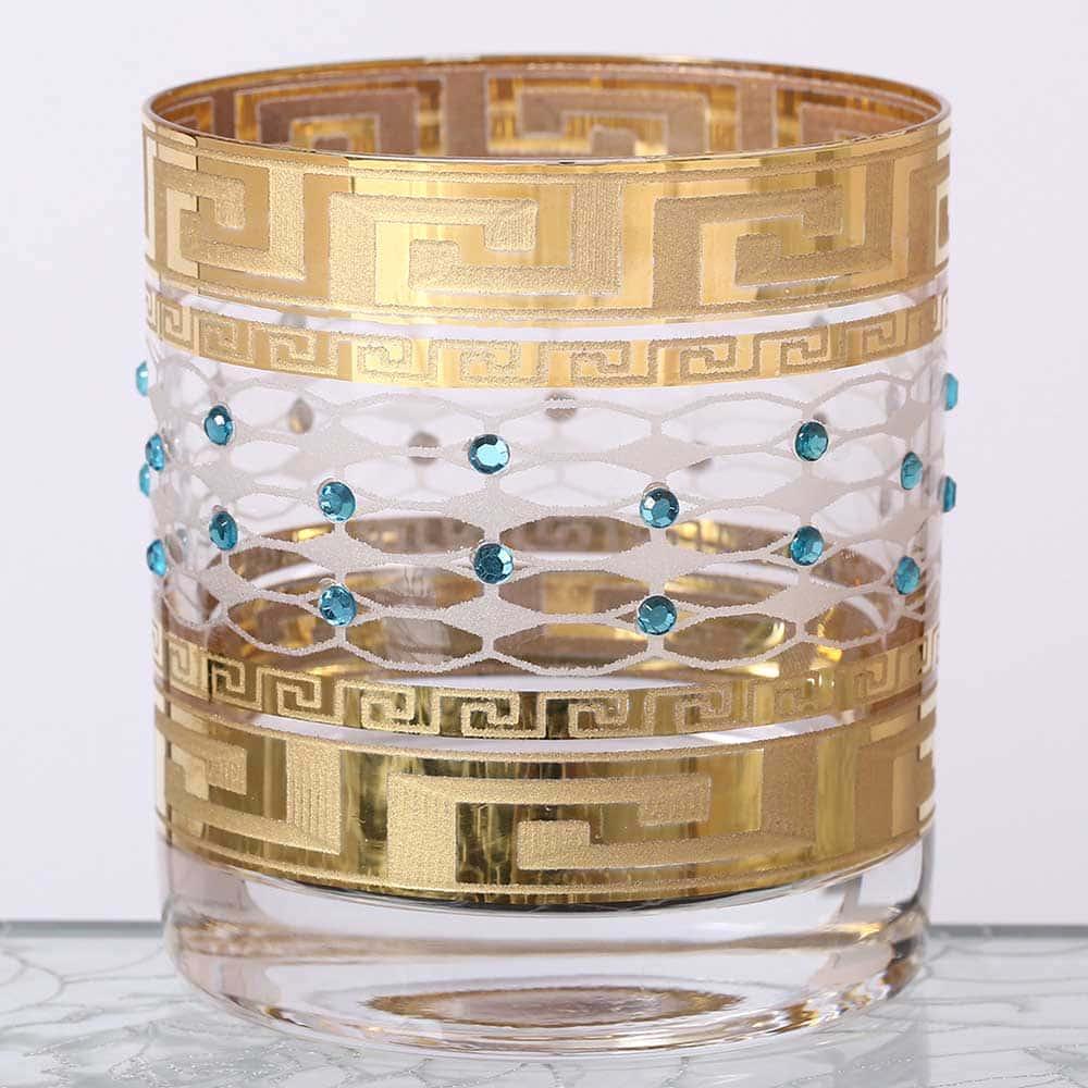 Набор стаканов для виски Костка Стразы синие Crystalite Bohemia 280мл(6 шт)