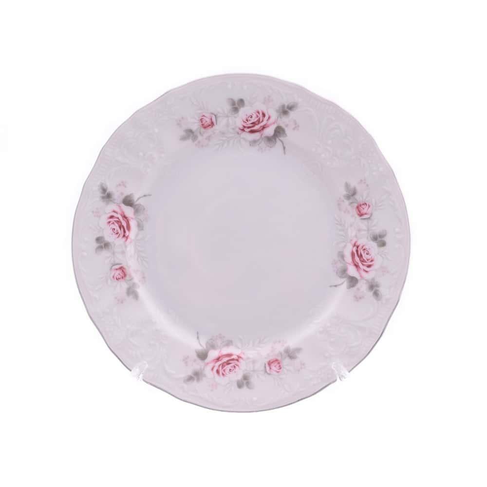 Тарелка Bernadotte Серая роза платина 17 см(1 шт)