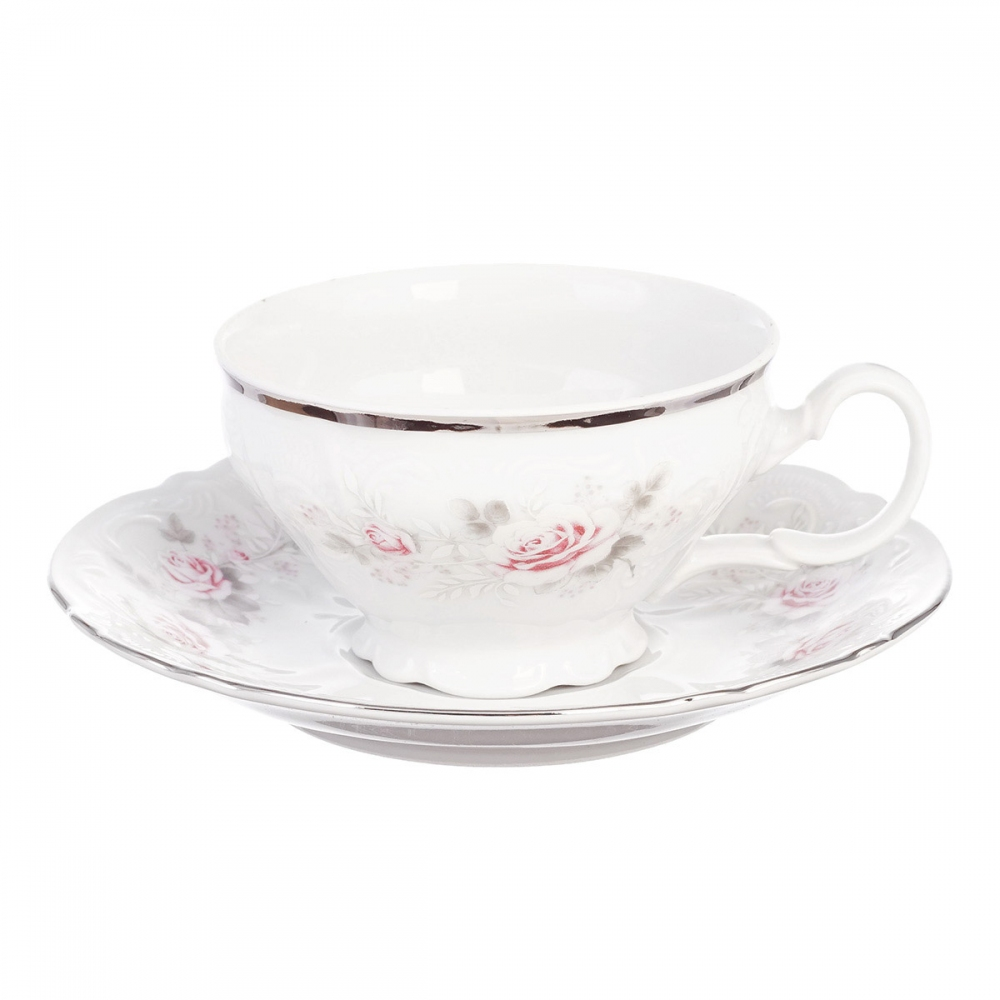 Чайная пара Bernadotte Серая роза платина 220мл
