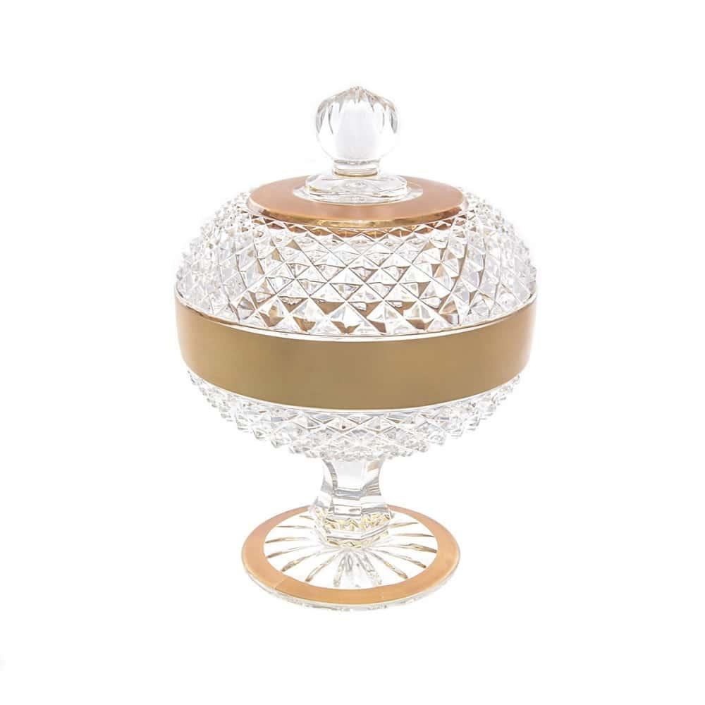 Конфетница с крышкой хрусталь с золотом Яхами Bohemia 11,6см