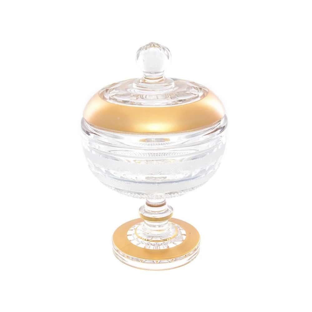 Варенница с крышкой на ножке хрусталь с золотом Moser 11,6см Crystal Heart