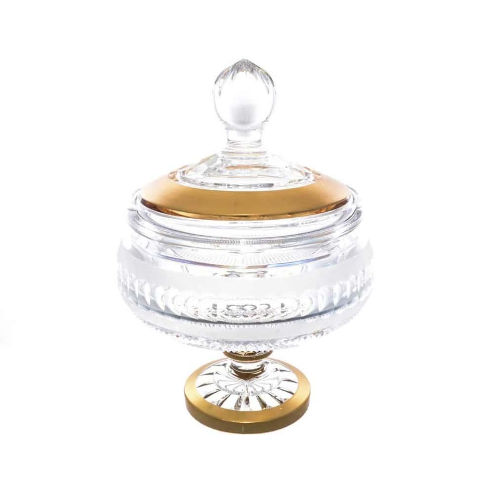 Конфетница с крышкой на ножке хрусталь с золотом Crystal Heart 16 см