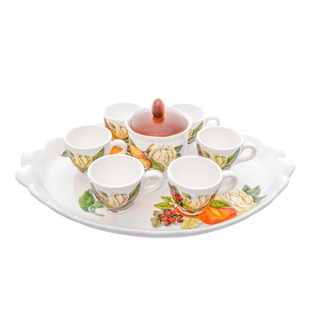 Кофейный сервиз NUOVA CER 8 предметов (6 кружек + сахарница с крышкой на подставке)