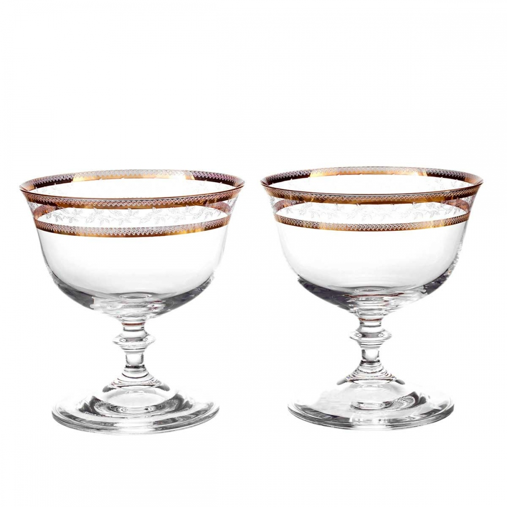 Набор креманок для мороженого 105 мл Анжела Золотой лист (2шт) V-D