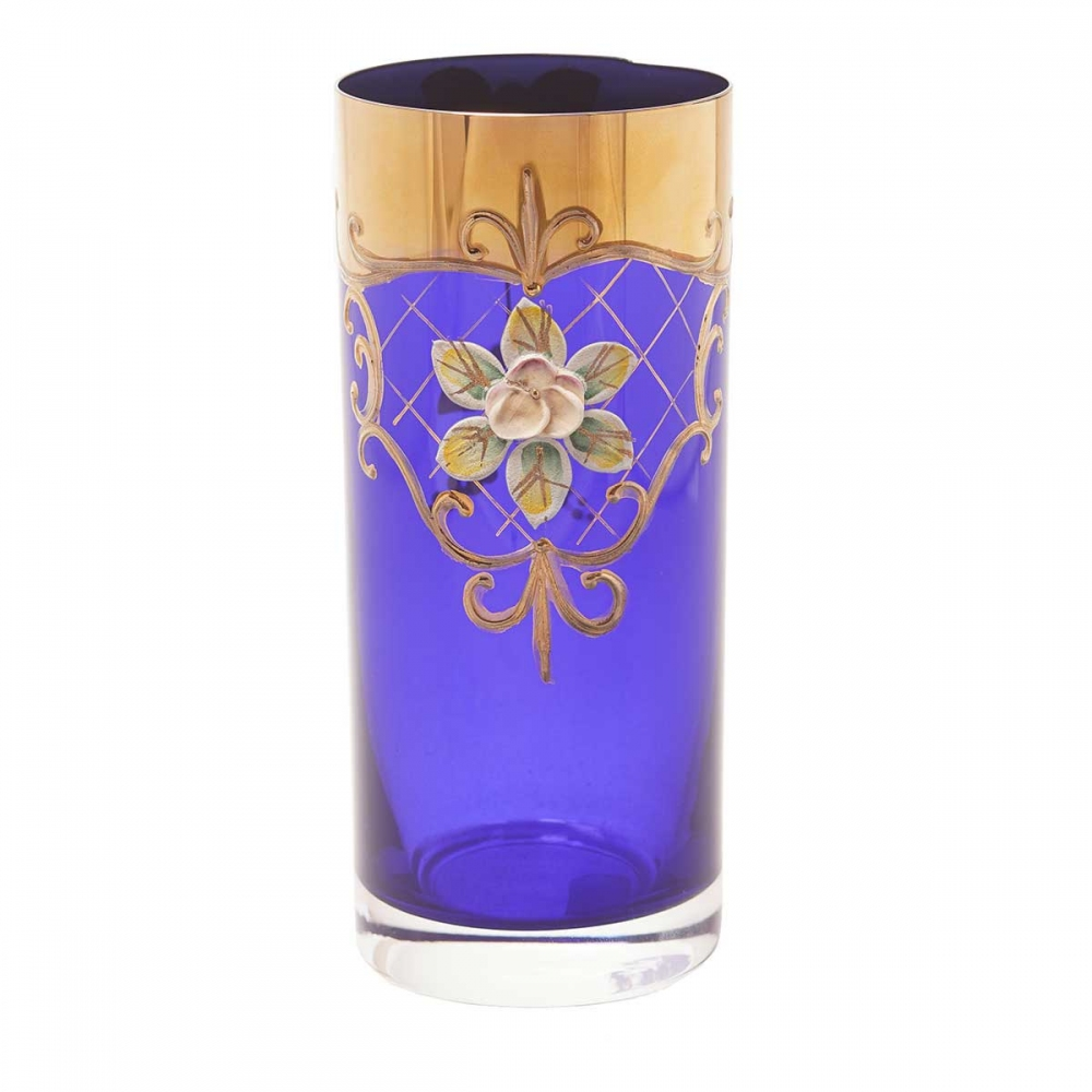 Набор стаканов для воды Crystalite Bohemia Лепка синяя (6 шт)