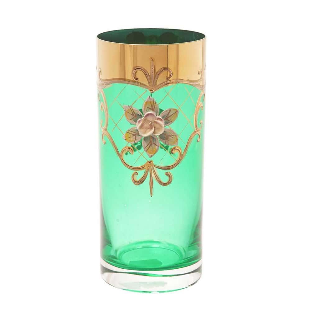 Набор стаканов для воды Crystalite Bohemia Лепка зеленая (6 шт)