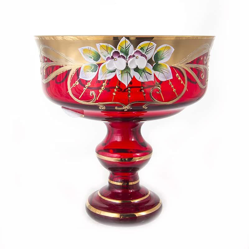 Ваза для конфет 16см.Лепка красная 6888 Union Glass